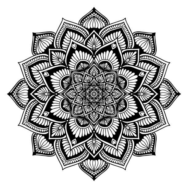 색칠 하기 책에 대 한 만다라 라운드. 장식 라운드 장식품입니다. 특이 한 꽃 모양입니다. 동양 벡터, 안티 스트레스 치료 패턴입니다. 디자인 요소를 직조 합니다. 요가 로고 벡터입니다. 벡터 아트 일러스트