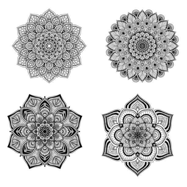 색칠 공부에 대한 만다라 라운드. 장식 라운드 장식품. 특이한 꽃 모양입니다. 동양 벡터, 안티 스트레스 치료 패턴. 디자인 요소를 직조합니다. 요가 로고 벡터입니다. 벡터 아트 일러스트