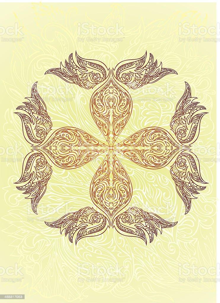 mandalic cross vector art illustration