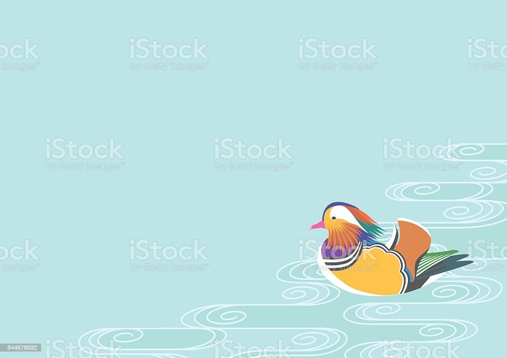 Mandarin ducks and water pattern vector art illustration