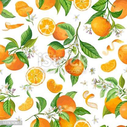 istock Mandarin Floral Pattern, Vector Seamless Fruit Background, Citrus Fruits, Flowers, Leaves, Limes Branches Texture. Watercolor Style Lemons. Vintage Lemon Design for Print, Wedding, Backdrop, Wallpaper 1279763612