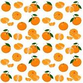 Mandarin, tangerine, clementine with leaves on white background. Citrus fruit background. Seamless pattern. Vector Illustration