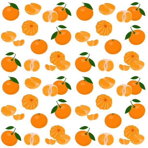 Mandarin, tangerine, clementine with leaves isolated on white background. Citrus fruit background. Seamless pattern. Vector Illustration Mandarin, tangerine, clementine with leaves on white background. Citrus fruit background. Seamless pattern. Vector Illustration tangerine stock illustrations