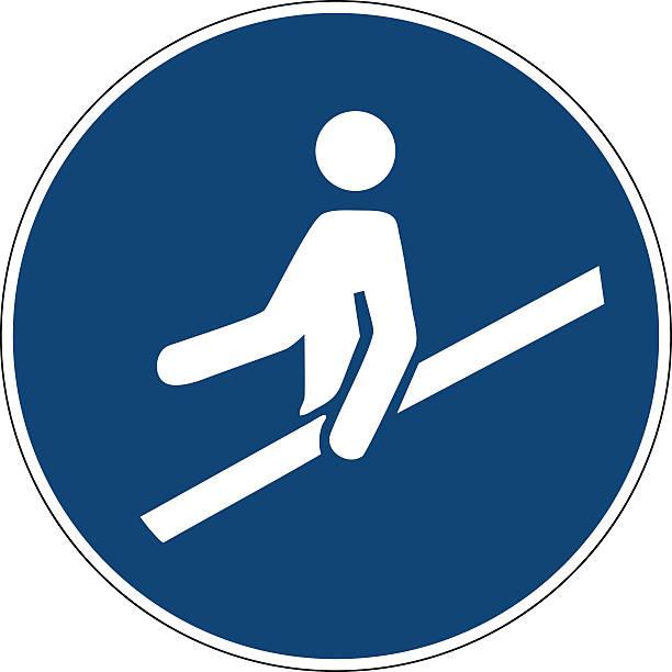stockillustraties, clipart, cartoons en iconen met mandatory action sign,use handrail - veiligheidshek
