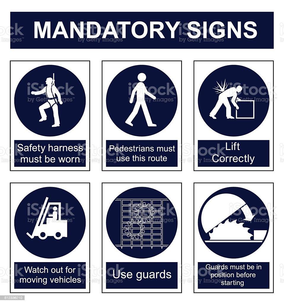 Señales de seguridad de obligatoriedad - ilustración de arte vectorial