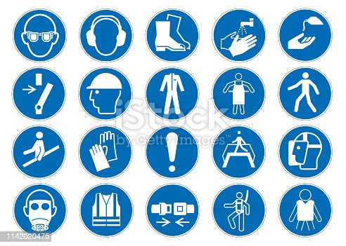 Mandatory sign DIN 7010 vector collection isolated on white background eps 10