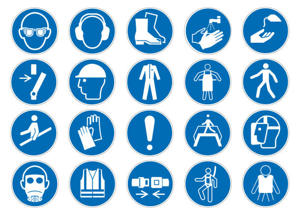 Mandatory sign DIN 7010 vector collection isolated on white background Mandatory sign DIN 7010 vector collection isolated on white background eps 10 protective workwear stock illustrations