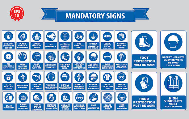 mandatory signs, construction health, safety sign used in industrial applications mandatory signs, construction health, safety sign used in industrial applications (safety helmet, gloves, ear protection, eye protection, foot protection, hairnet, respirator, mask, antistatic, apron) protective workwear stock illustrations