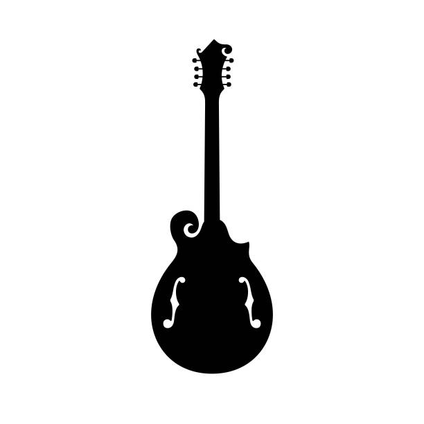 mandola, fretted, stringed musical instrument - instrument strunowy stock illustrations
