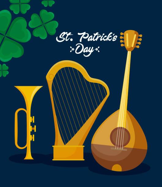 illustrazioni stock, clip art, cartoni animati e icone di tendenza di mandolin with harp and trump of st patrick day - trump