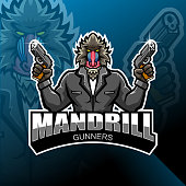 Illustration of Mandrill gunner esport mascot logo design