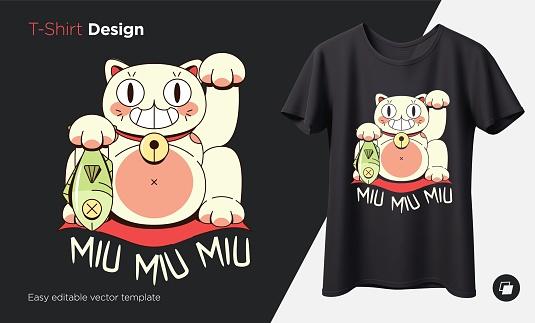 Maneki neko cat. Prints on T-shirts, sweatshirts, cases for mobile phones, souvenirs. Isolated vector illustration on black background.
