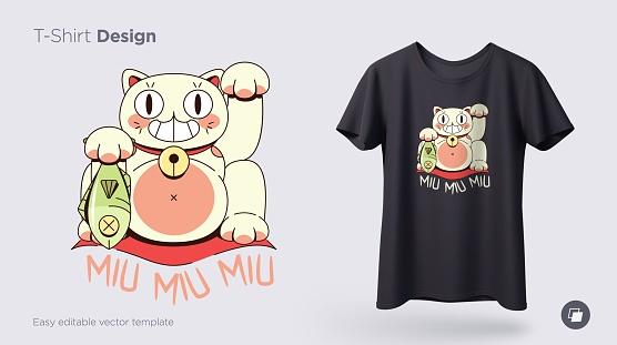 Maneki neko cat.Prints on T-shirts, sweatshirts, cases for mobile phones, souvenirs. Isolated vector illustration on white background.
