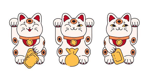 Maneki neko flat cartoon illustration set. Japanese folklore symbol collection.