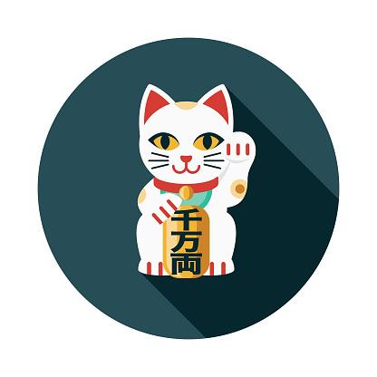 Maneki Neko Flat Design Japan Icon