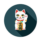 Maneki Neko Flat Design Japan Icon