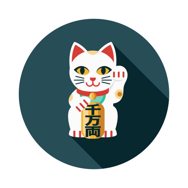 stockillustraties, clipart, cartoons en iconen met maneki neko platte ontwerp japan pictogram - kat