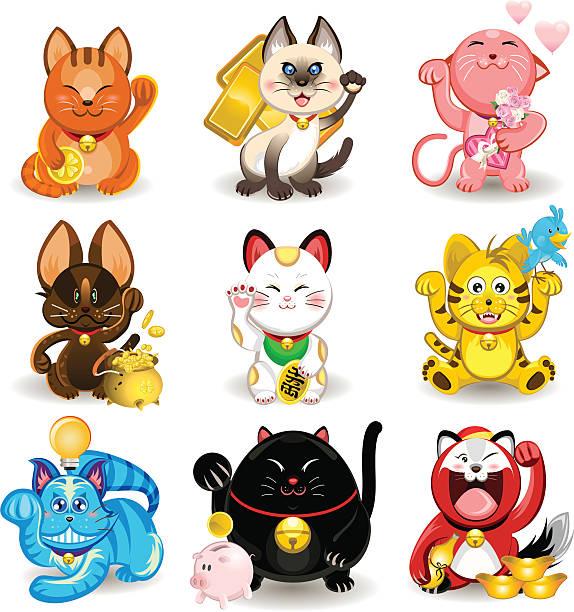 Maneki Neko Fortune Collection de chat - Illustration vectorielle