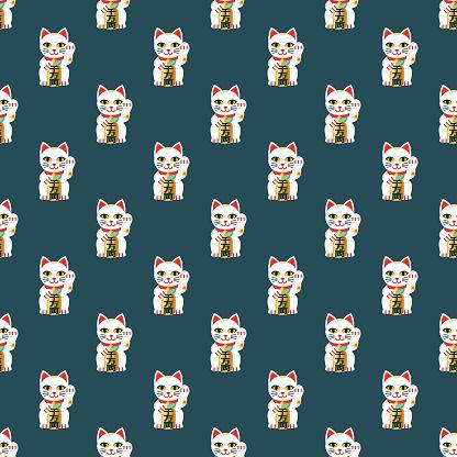 Maneki Neko Japanese Seamless Pattern