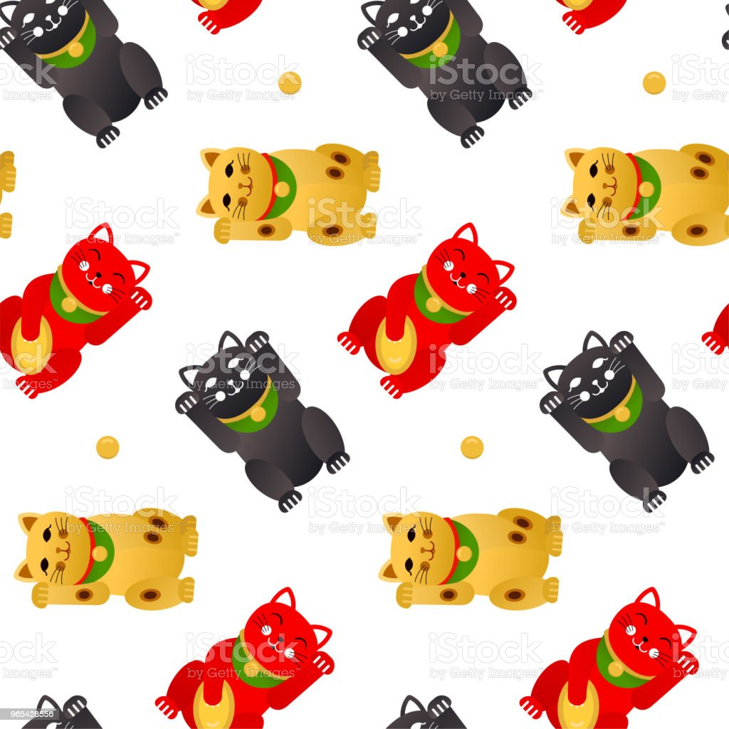 Maneki neko lucky cat. Vector seamless pattern royalty-free maneki neko lucky cat vector seamless pattern stock vector art & more images of animal
