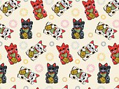 """Seamless, Asian pattern with maneki nekos in black, white and red on beige background. The """"Maneki neko"""" is a traditional, Japanese luck symbol, often used in feng shui. This character is believed to bring good luck and prosperity to the owner. Literally the name says """"beckoning cat"""". The white cat wears a red collar with a bell and holds a coin with the Japanese writing: 千万両, which means 'ten million ryō' (an extraordinary sum of money)."""