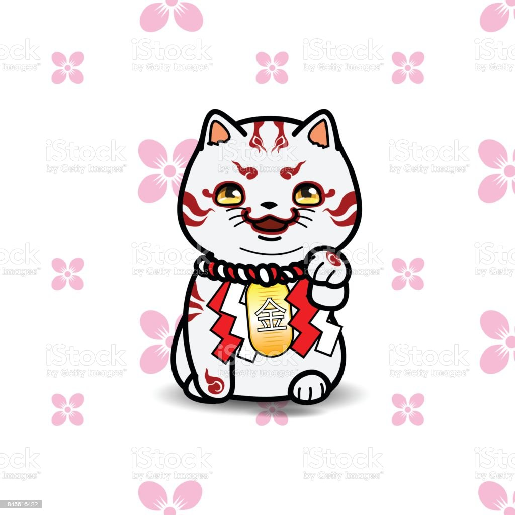 招き猫、簡単なシームレス パターンのベクトル図です。 ベクターアートイラスト