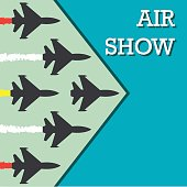 maneuvers of an fighter planes in the blue sky for air show banner. vector illustration