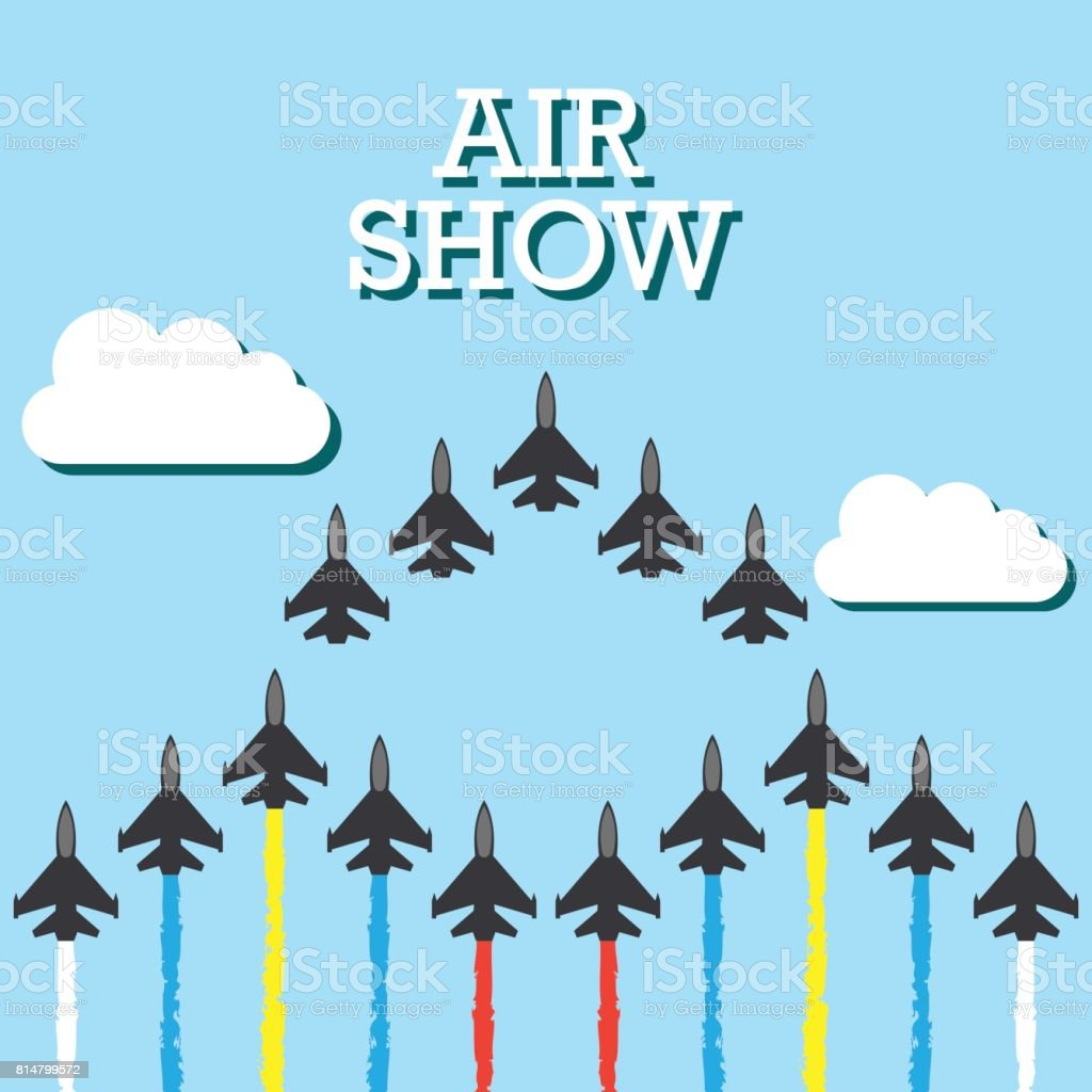 maneuvers of an fighter planes in the blue sky for air show banner....
