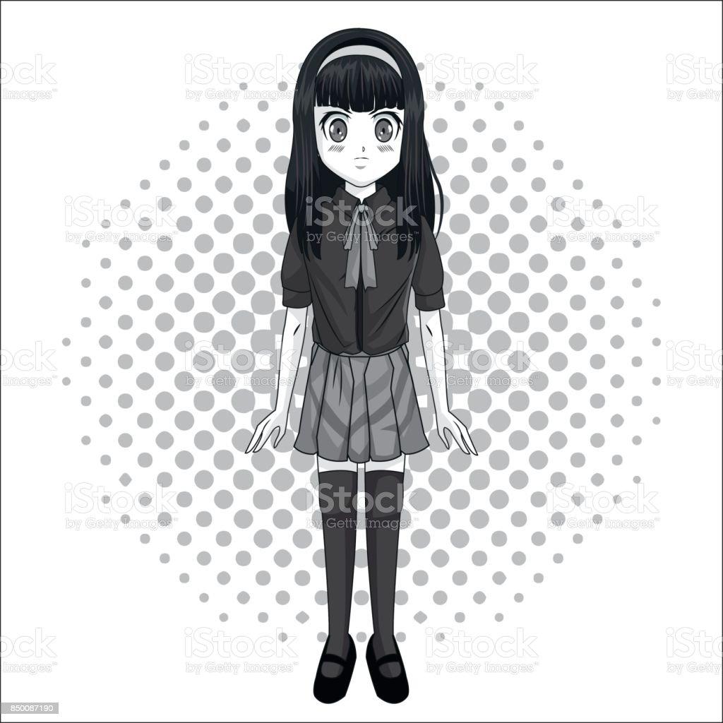 Manga cartoon girl design vector art illustration