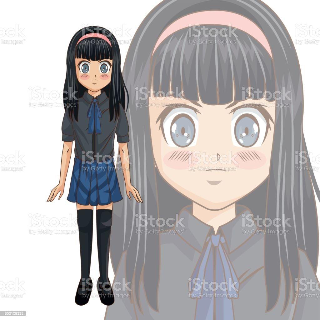 Conception De Fille Manga Dessin Animé Vecteurs Libres De