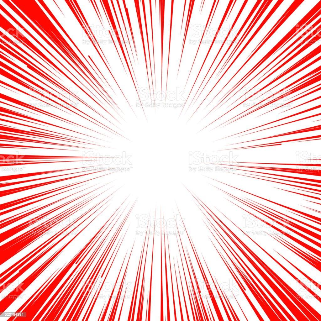 Manga comic book flash explosion radial lines background. vector art illustration