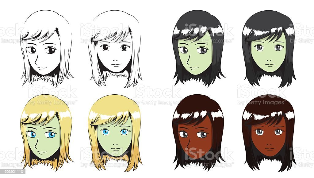 Manga Cheveux Longs Fille Vecteur De Bordure Cliparts Vectoriels