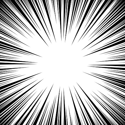 Manga Speed Lines Vector Grunge Ray Illustration Black And White Space For Text Comic Book Radial Lines Background Frame Superhero Action Explosion Illustration Square Stamp Stock Illustration - Download Image Now