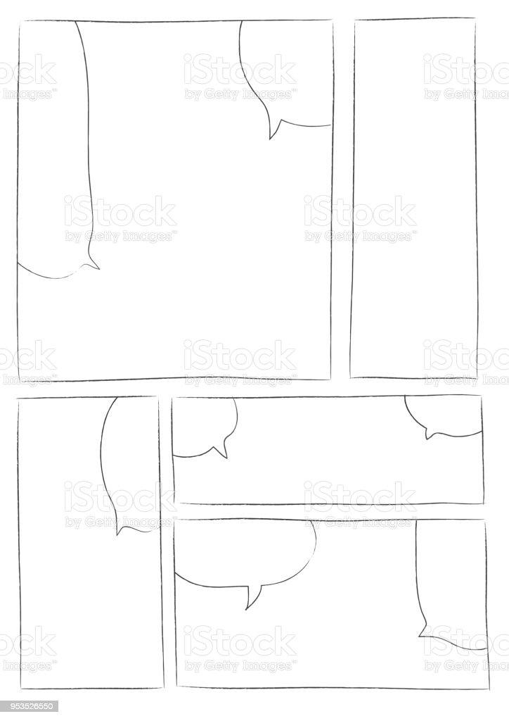 Manga Storyboard Layout Brush Stroke Stock Vector Art More Images