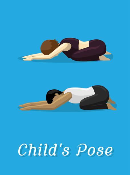 Manga Style Cartoon Yoga Child's Pose Manga Yoga Posture EPS10 File Format childs pose stock illustrations