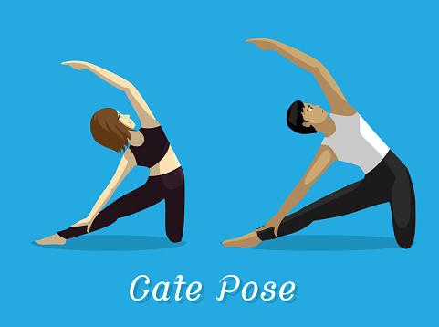 Manga Style Cartoon Yoga Gate Pose