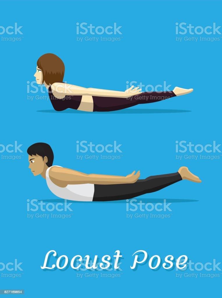 Manga Style Cartoon Yoga Locust Pose vector art illustration