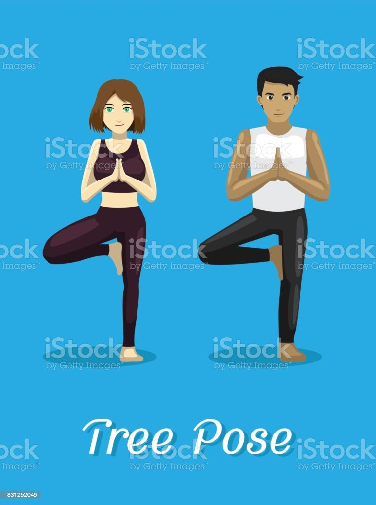 Manga Style Cartoon Yoga Tree Pose vector art illustration