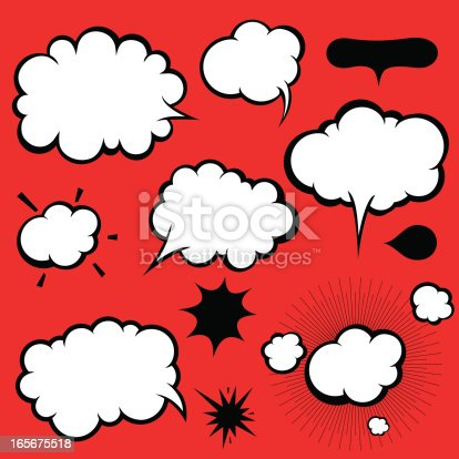 istock Manga Style Comics Word and Thought Bubbles, Speech Balloons 165675518