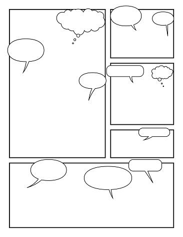 Manga Style Page Layout Storyboard Layout Template With