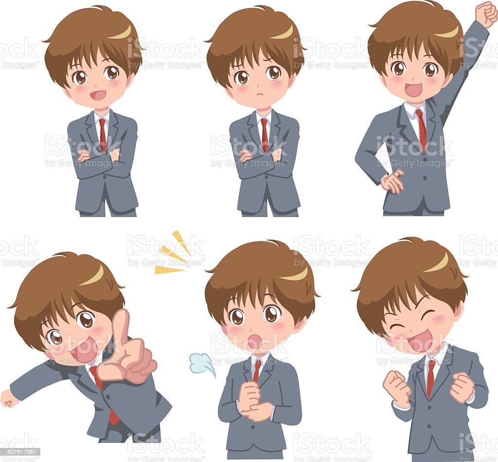 Manga Styled Boy with Multiple Poses vector art illustration