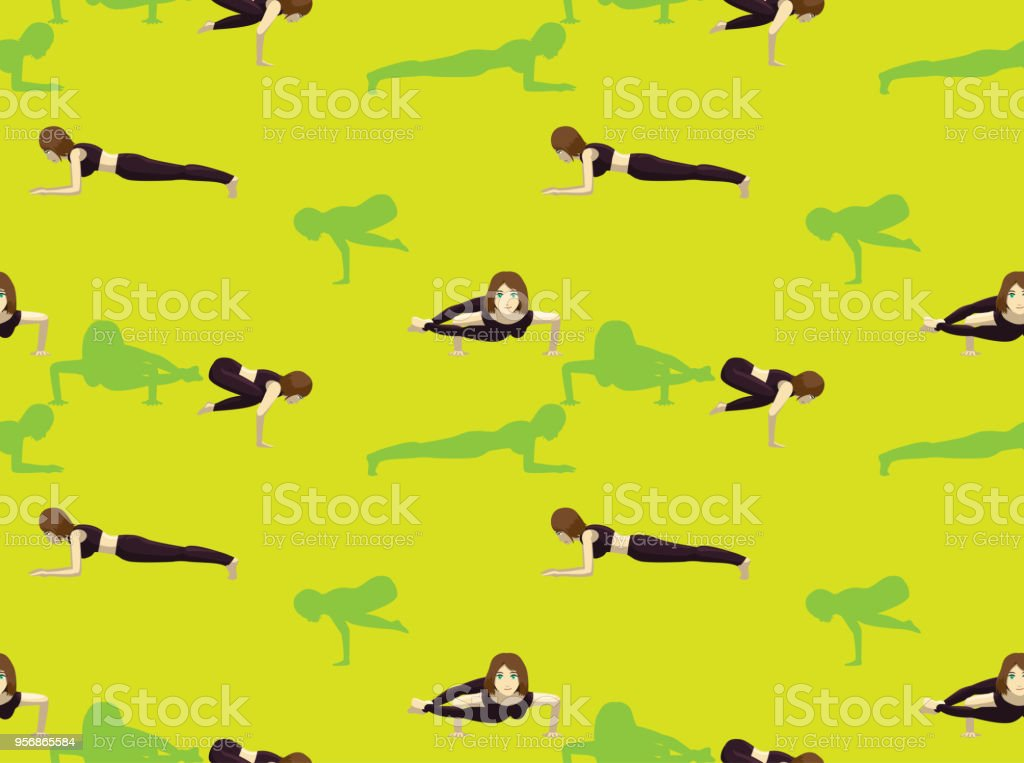 Manga Yoga Girl Eight Angle Pose Background Seamless Wallpaper Stock Illustration Download Image Now Istock