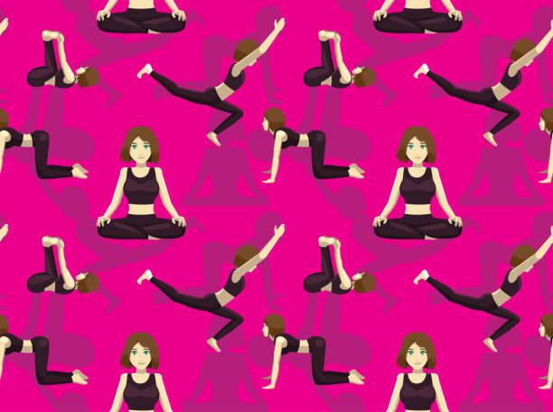 Manga Yoga Girl Seamless Wallpaper Pink Background Yoga Posture Wallpaper EPS10 File Format apanasana stock illustrations