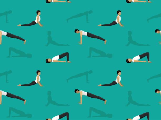 Manga Yoga Man Bridge Pose Background Seamless Wallpaper Yoga Posture EPS10 File Format shoulder stand stock illustrations