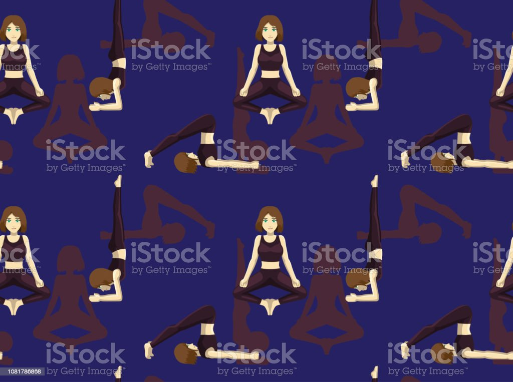 Manga Yoga Plow Pose Cartoon Background Seamless Wallpaper Stock Illustration Download Image Now Istock