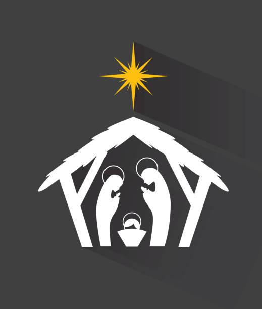 manger design manger graphic design , vector illustration nativity silhouette stock illustrations