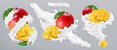 Mango and milk splash, yogurt. 3d realistic vector icon