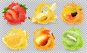 Mango, banana, kiwi fruit, strawberry, lemon, papaya juice. Fresh fruits and splashes, 3d realistic vector icon set
