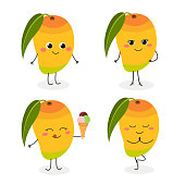 Cute cartoon mango characters set in flat style. Vector illustration isolated on white background