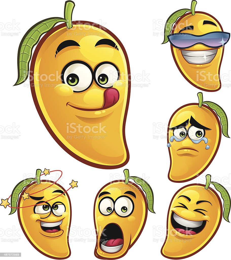 Mango Cartoon Set A royalty-free mango cartoon set a stock vector art & more images of anthropomorphic
